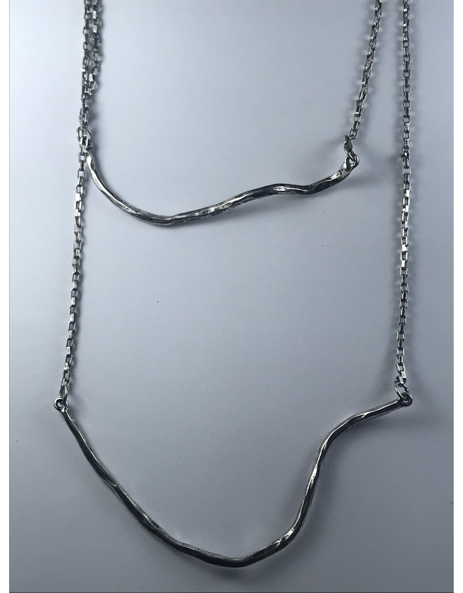 Axxes-Soir korte  zilverkleurige dubbele ketting