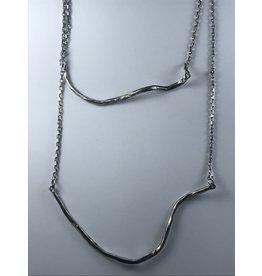 Axxes-Soir korte  zilverkleurige dubbele ketting - used look