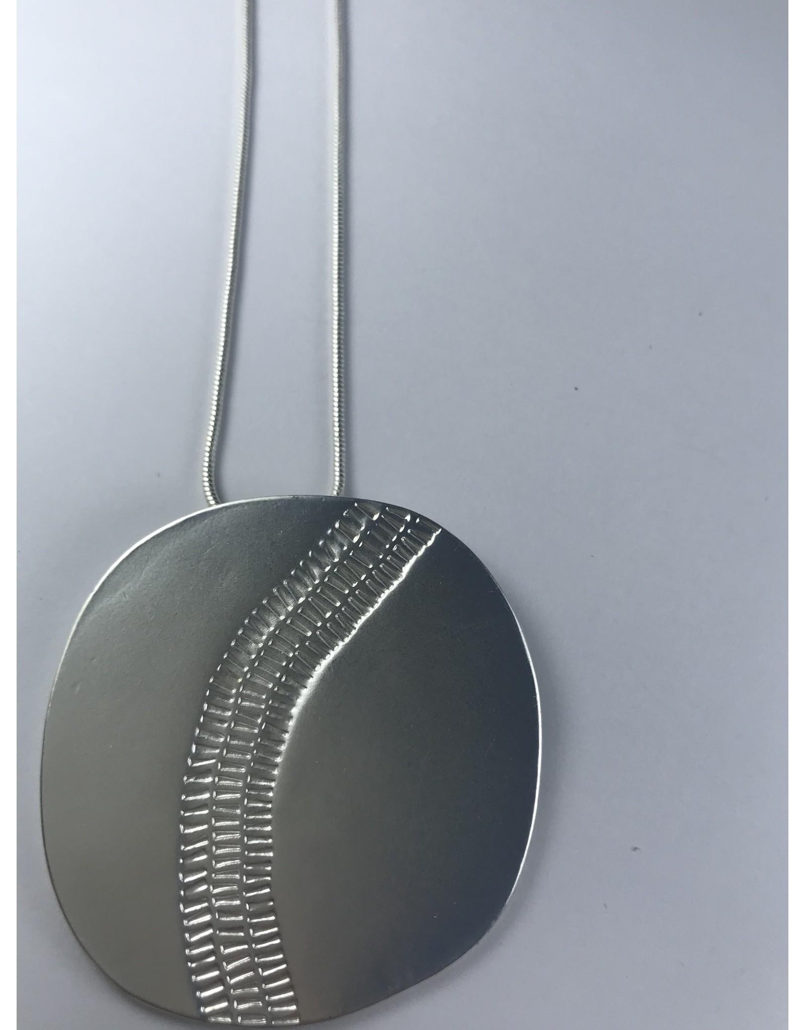 Axxes-Soir lange zilverkleurige ketting - met grote ronde plaat