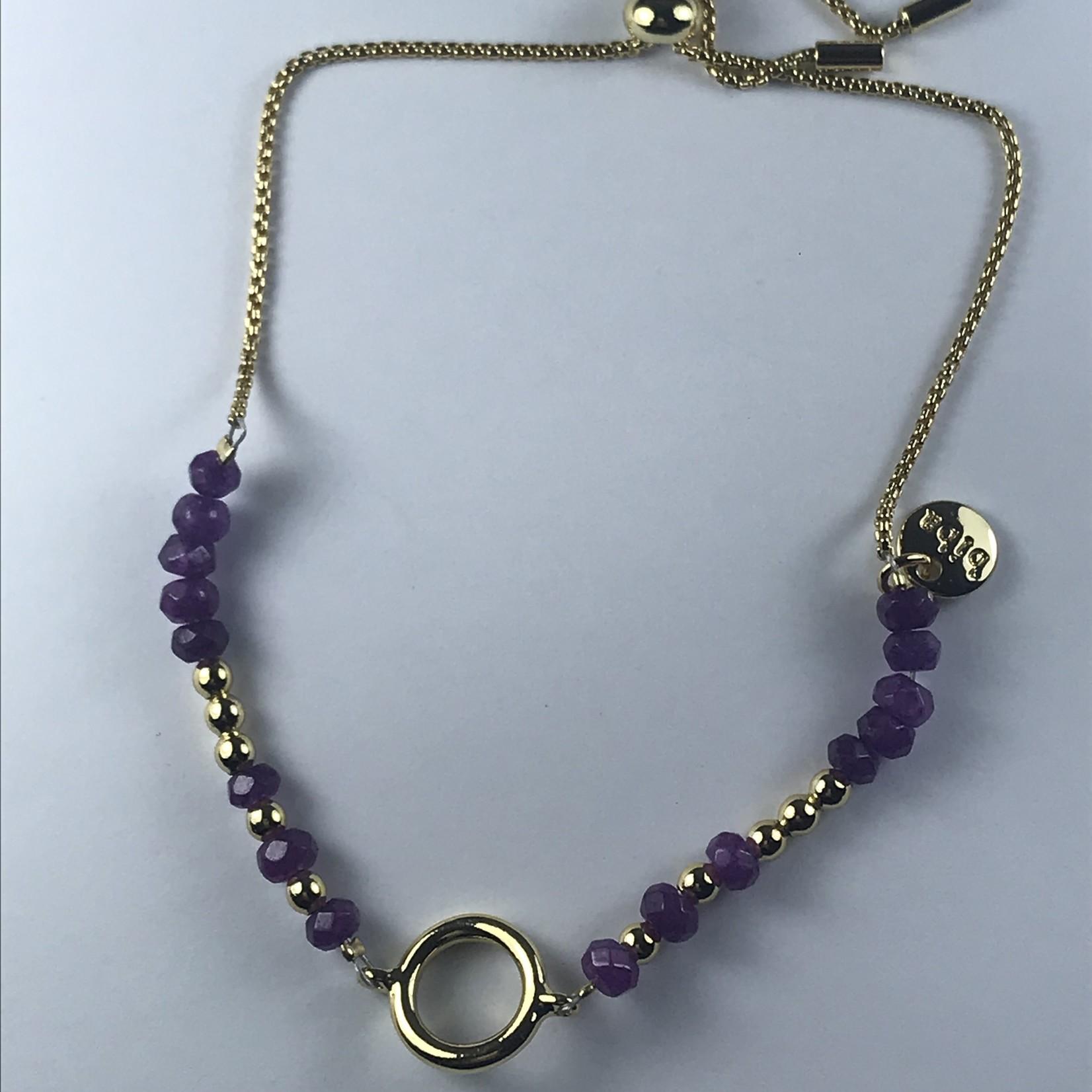 Biba fijne armband - goudkleurig  met paarse kraaltjes
