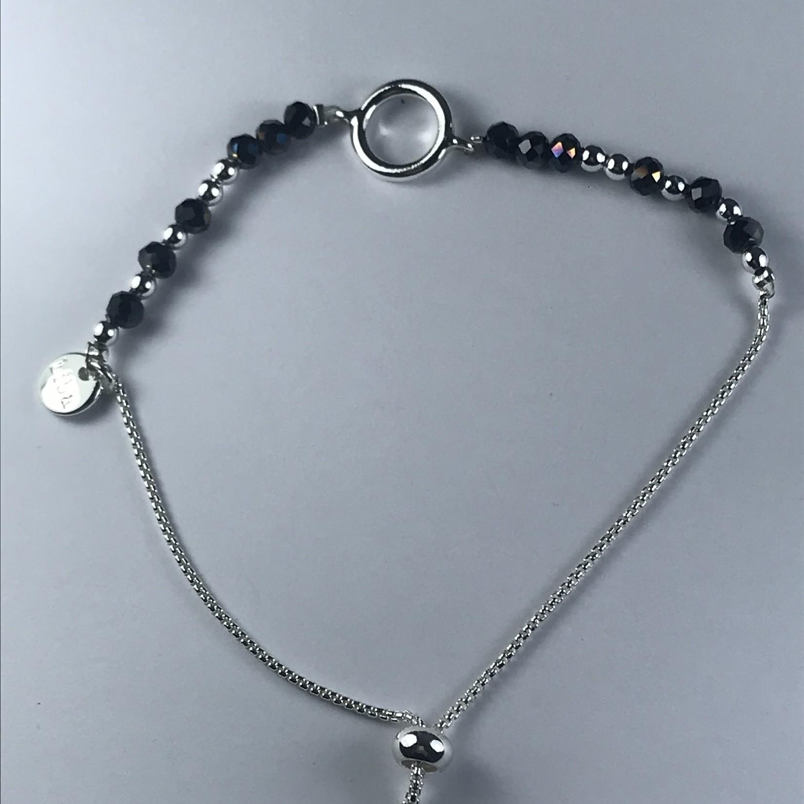 Biba fijne armband - zilverkleurig  met grijze kraaltjes