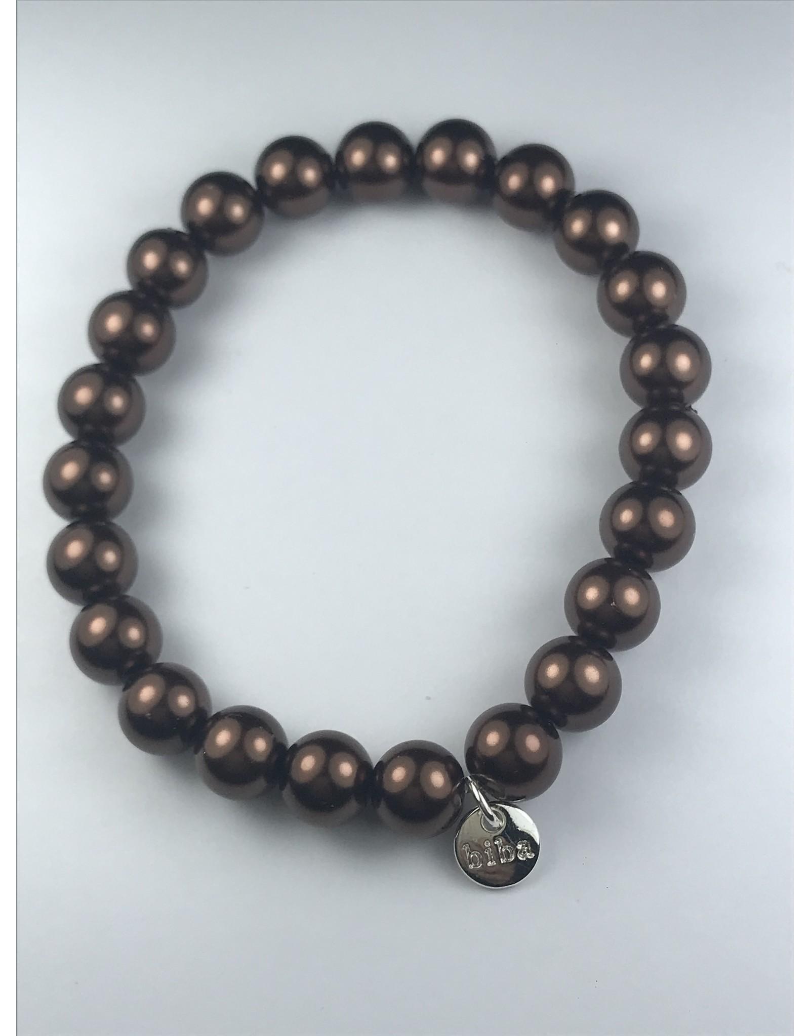 Biba armband - bronskleurige bollen - grof