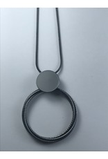 Axxes-Soir Lange ketting gun metal -open cirkel