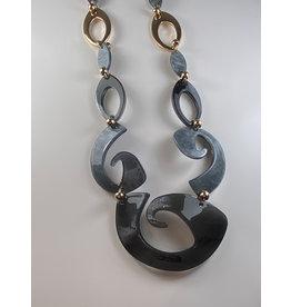 Axxes-Soir Lange ketting  in grijs en gouden kronkels