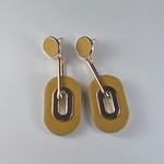 Axxes-Soir Oorringen goudkleurige hanger met geel