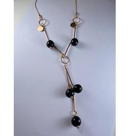 Axxes-Soir Lange ketting  in goud met schakels en zwarte bolletjes