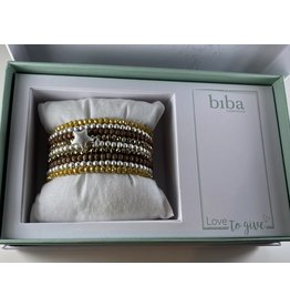 Biba Gift box mosterdgeel-bruin-zilver - 9 armbandjes