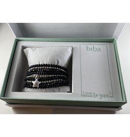 Biba Gift box zwart-gun metal - 9 armbandjes