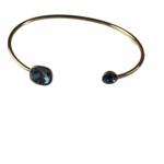 Biba armband goudkleurig met grijze Swarovski