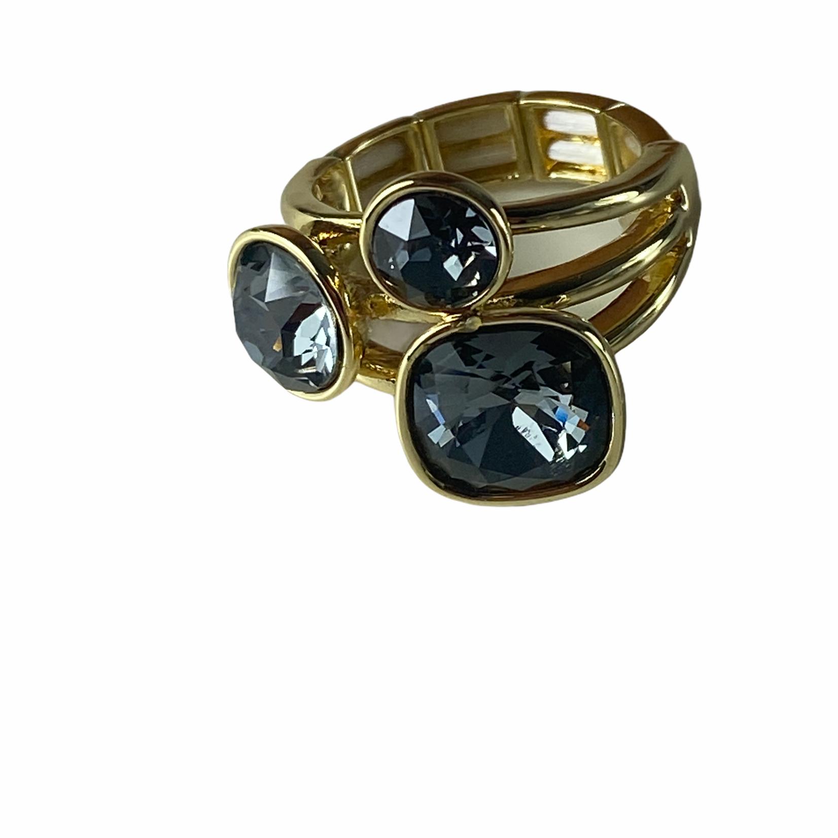 Axxes-Soir Ring - 1 maat - op elastiek - goudkleurig - Swarovski - donker grijs