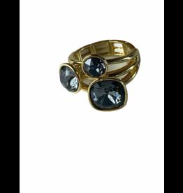 Axxes-Soir Ring - 1 maat - op elastiek - goudkleurig - Swarowski - donker grijs