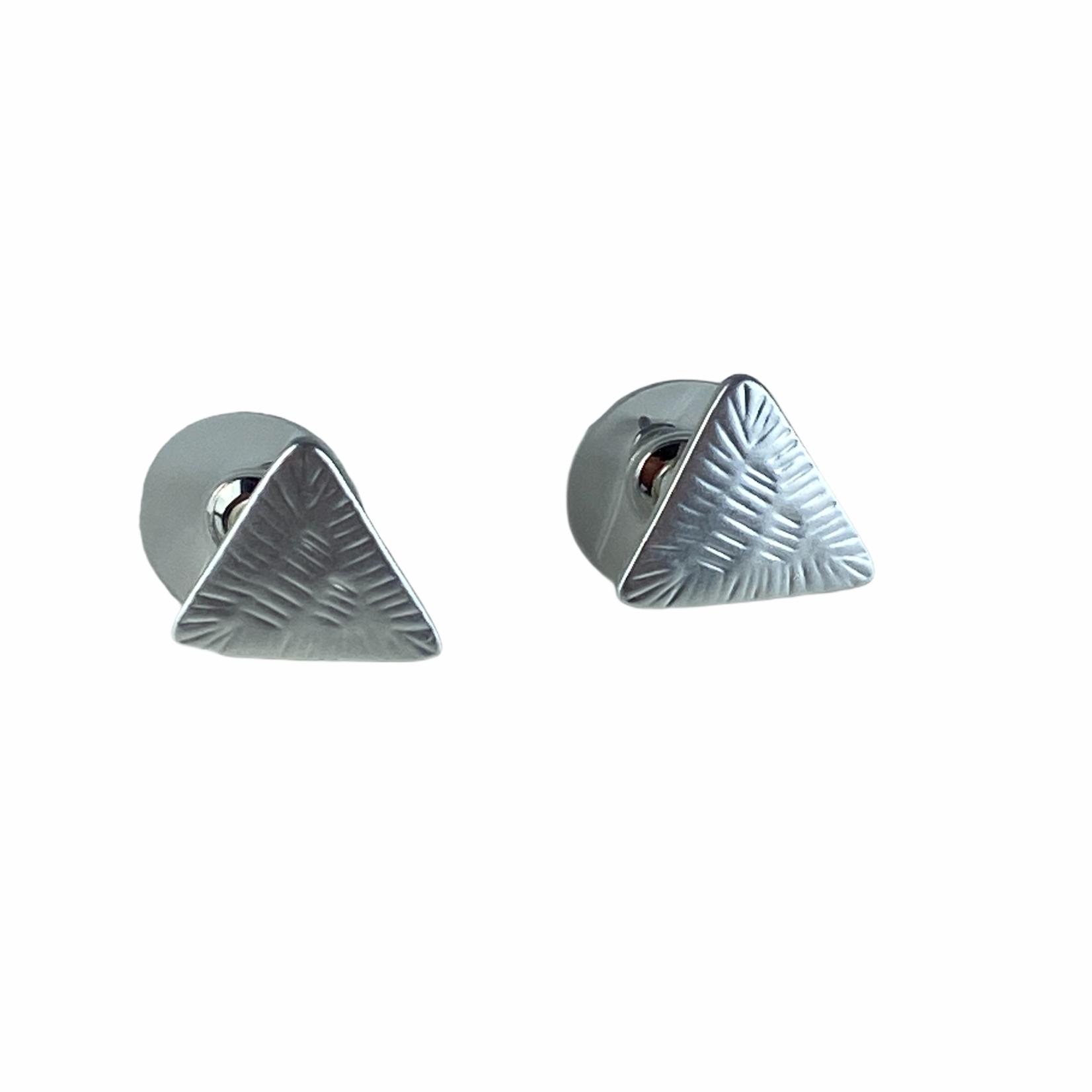 Axxes-Soir Oorringen zilverkleurig - kleine driehoekjes