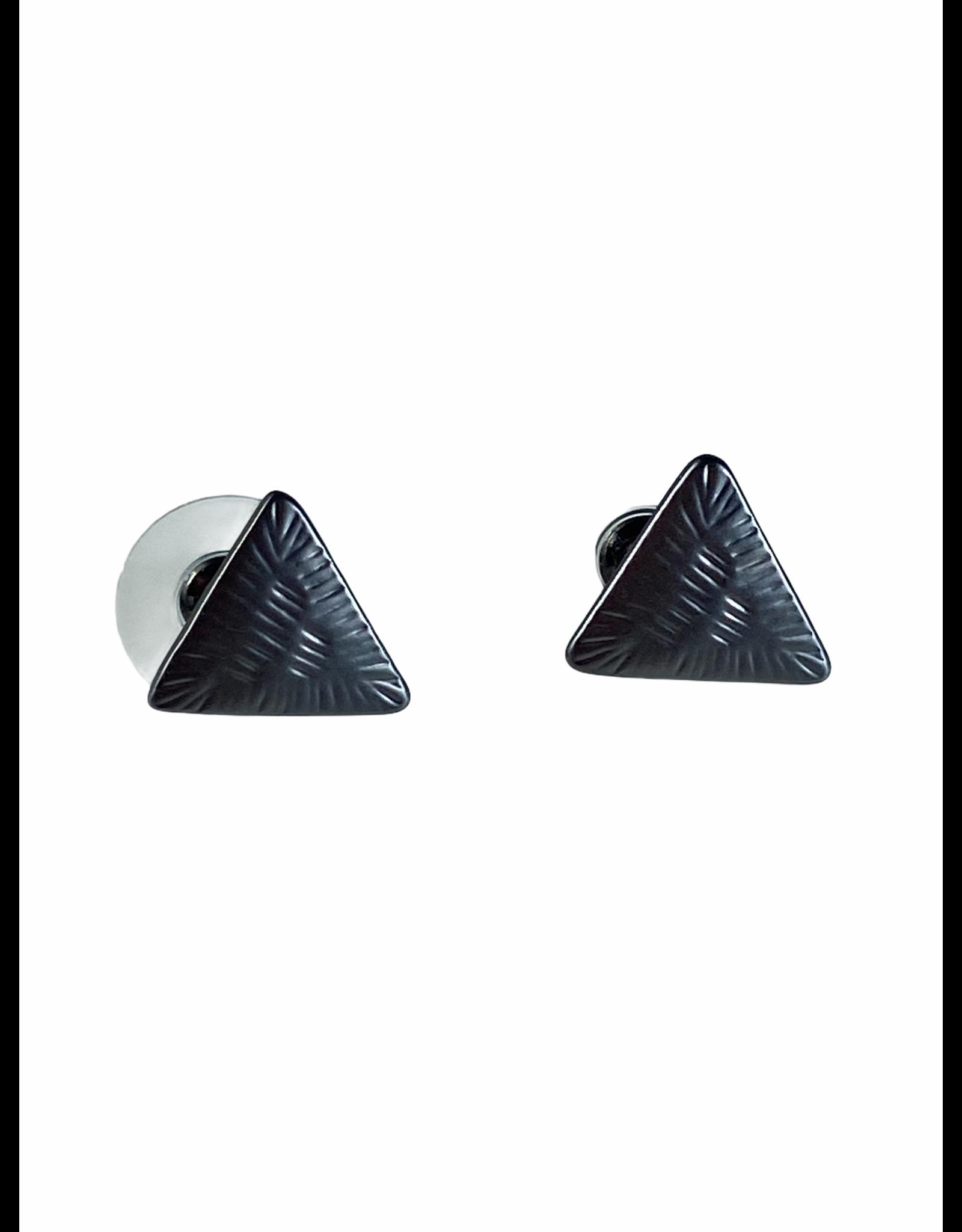 Axxes-Soir Oorringen gun metal - kleine driehoekjes