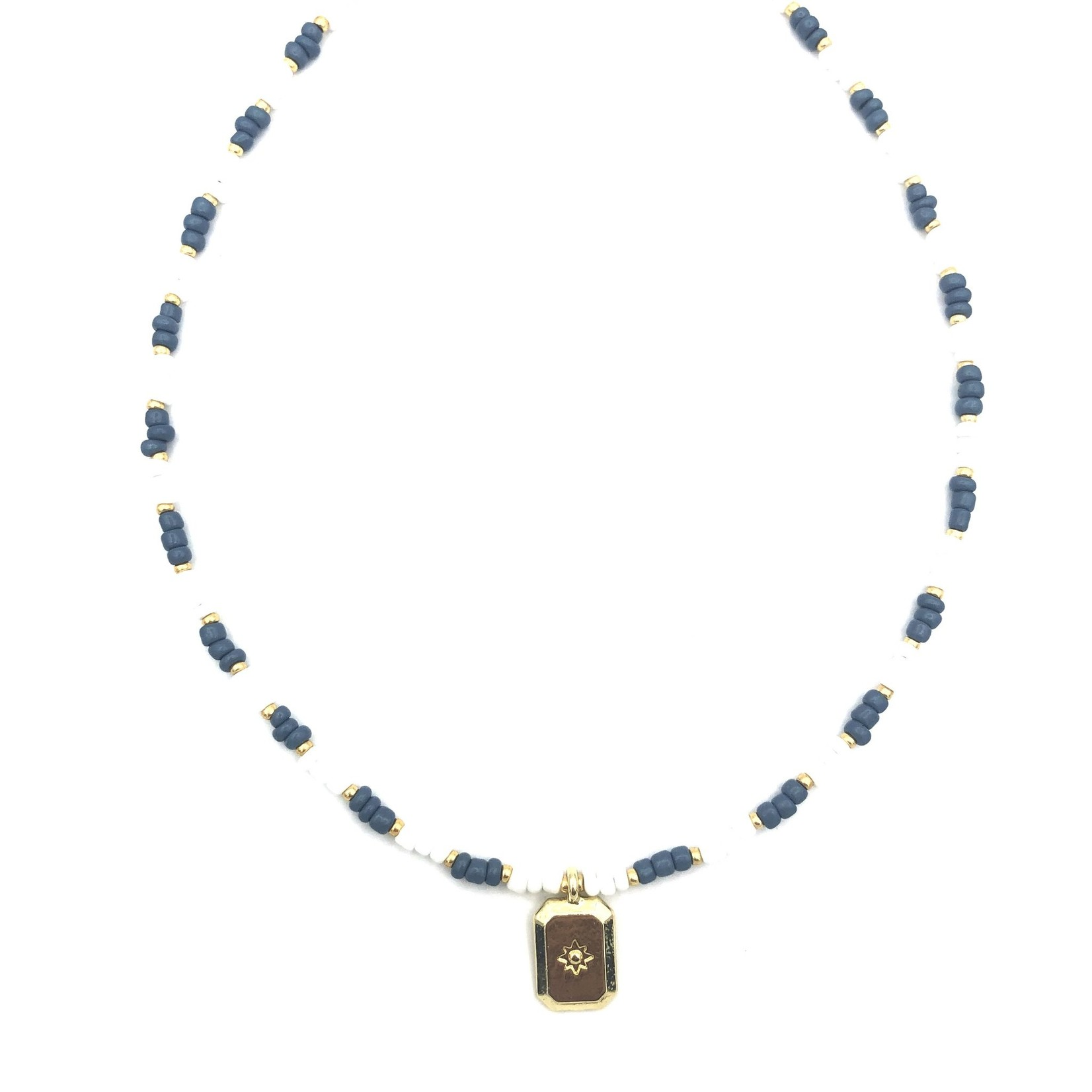 Boho-Beach Ketting wit/blauw met goudkleurige hanger
