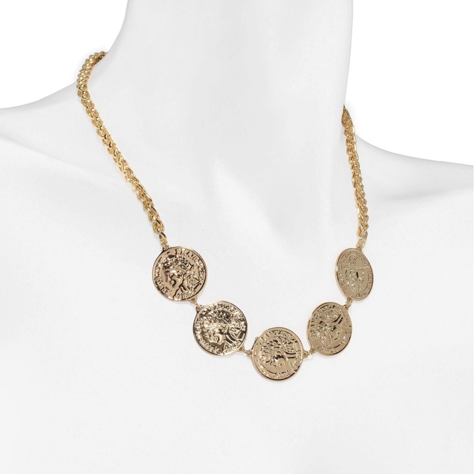 Piemonte ketting goudkleurig met munten