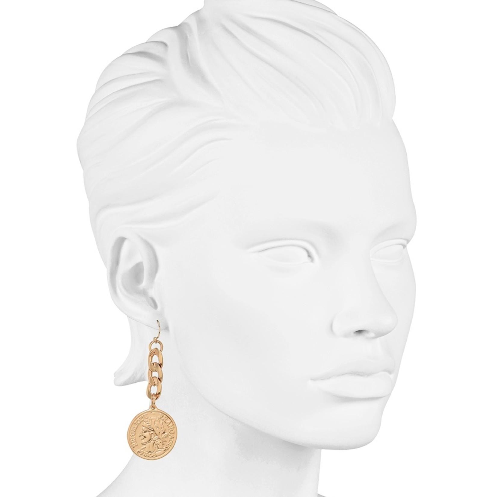 Piemonte oorbellen goudkleurig met ketting en munt