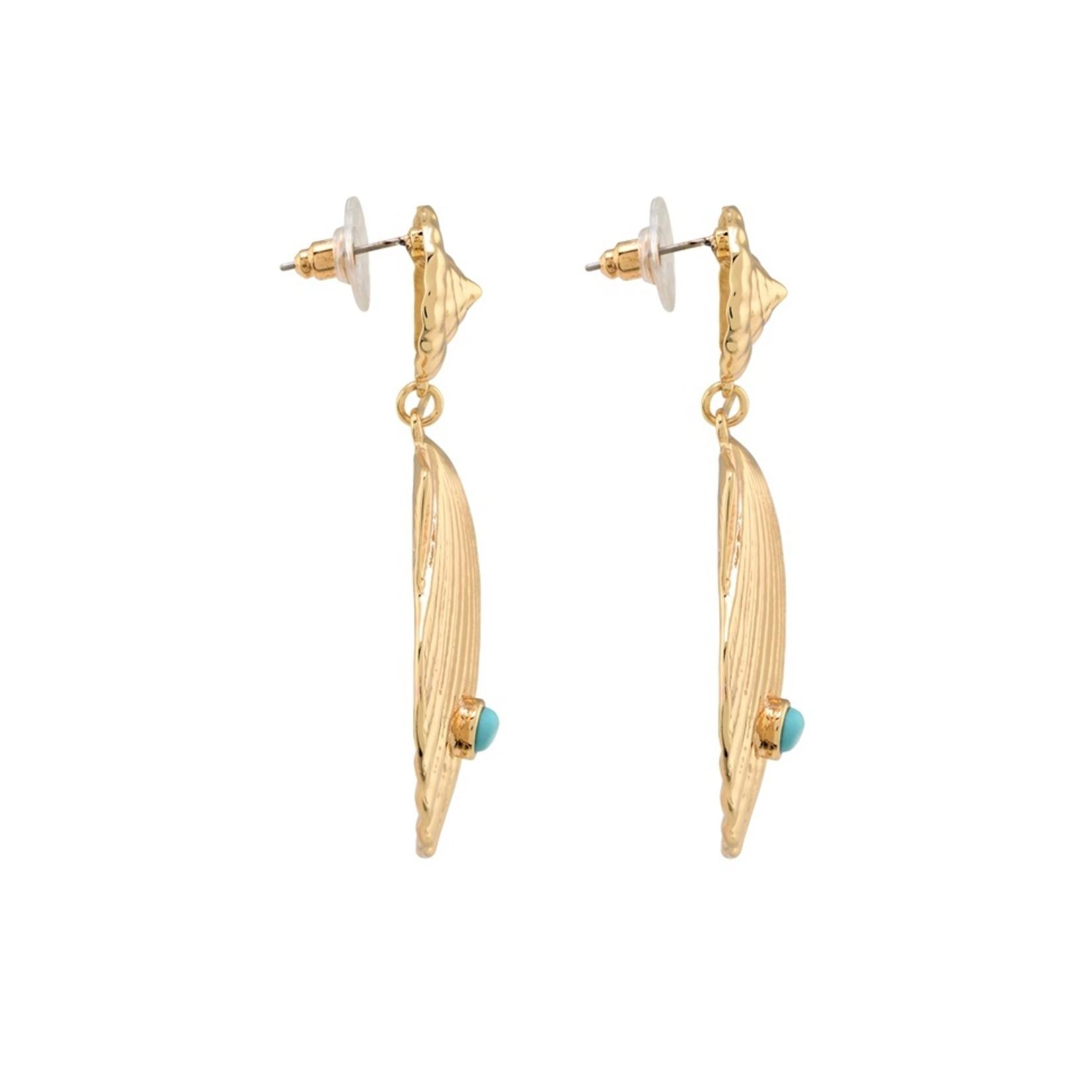 Piemonte oorbellen goudkleurig met schelp