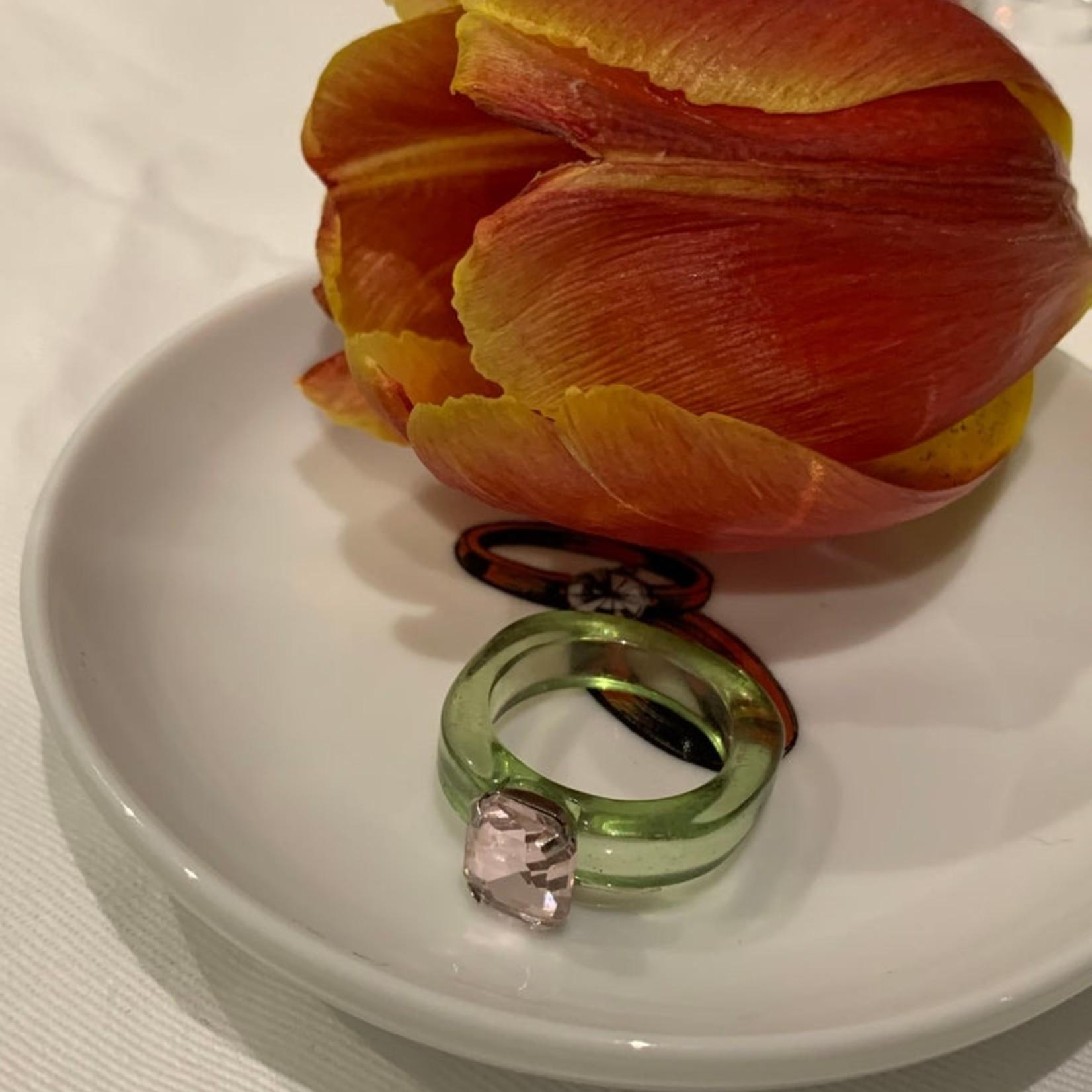 summerinrainbow Ring transparant groen met steen