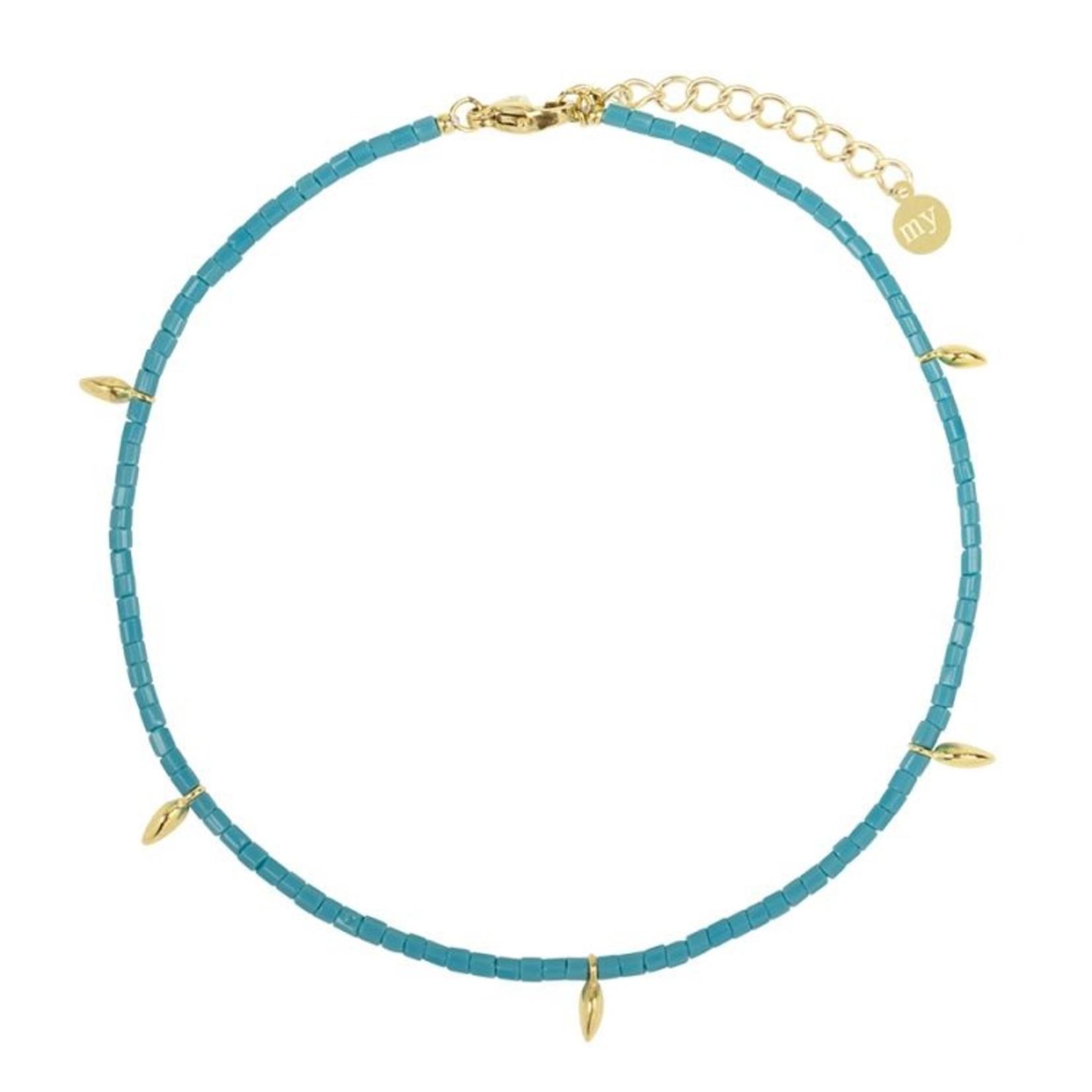 My Jewellery Enkelbandje met blauwe kralen en gouden druppels