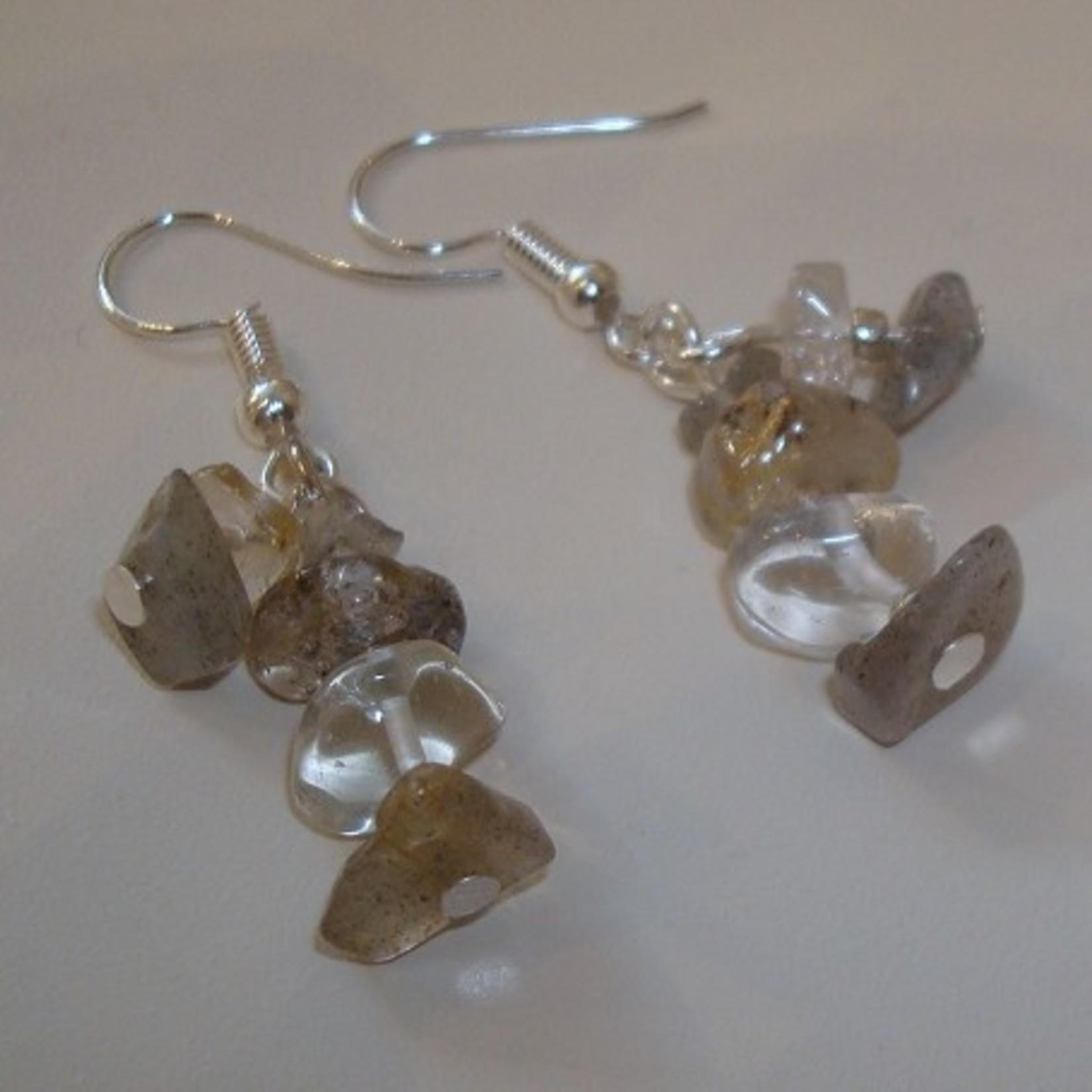 Adorabeads Oorbellen edelstenen van Labradoriet, Rutielkwarts en Bergkristal.