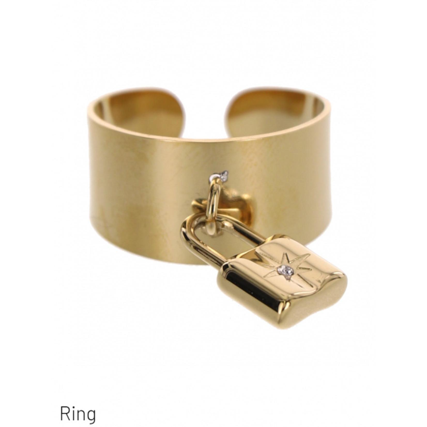 Dodi Ring goudkleurig verstelbaar met hangend slot