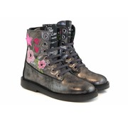 Shoesme Silhouet Veterboot Old Silver Bloemen