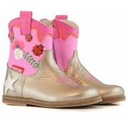 Shoesme Enkellaarzen Gold Pink Western