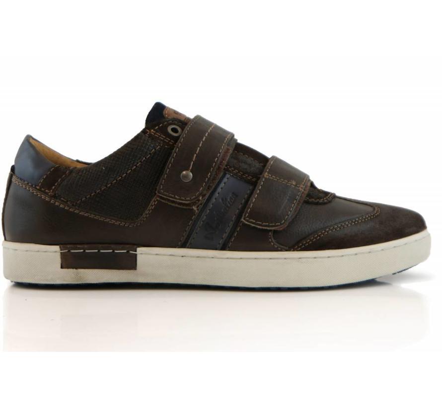 Sneakers Klittenband Darkbrown Blue