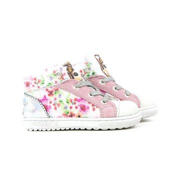 Shoesme Extreme Flex Hoge Veter Flowers Wit Rosa