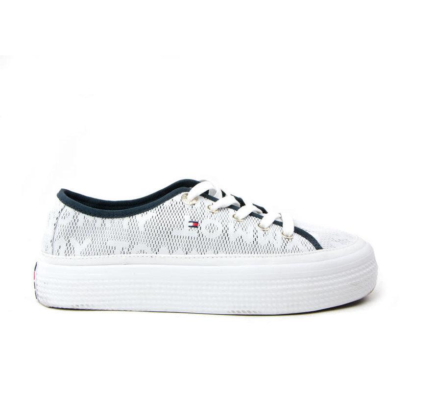 Jacquard Flatform Sneaker White
