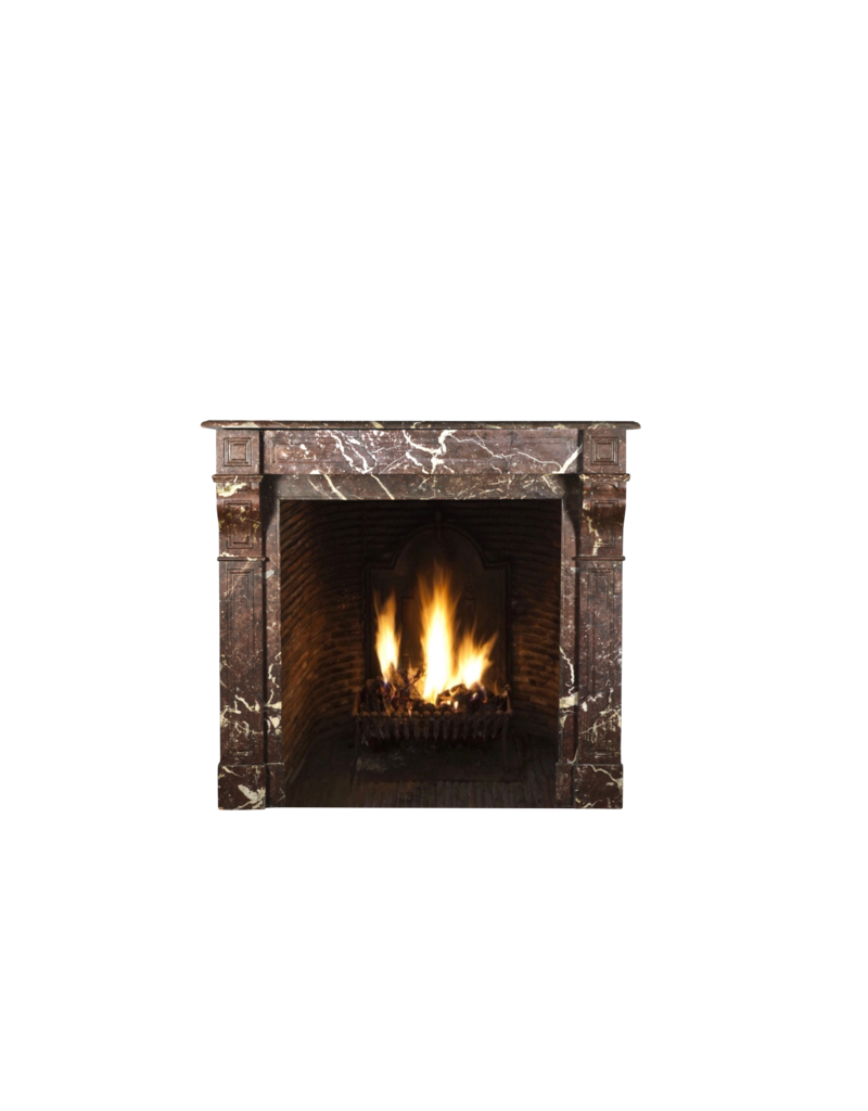 Small Belgian Antique Fireplace Surround In Brown Marble
