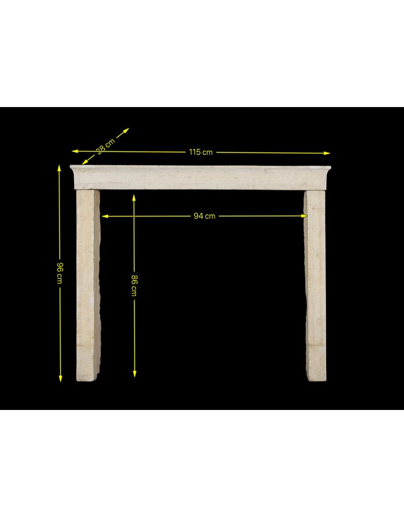 Straight Lined French Rustic Shiny Limestone Fireplace Mantle