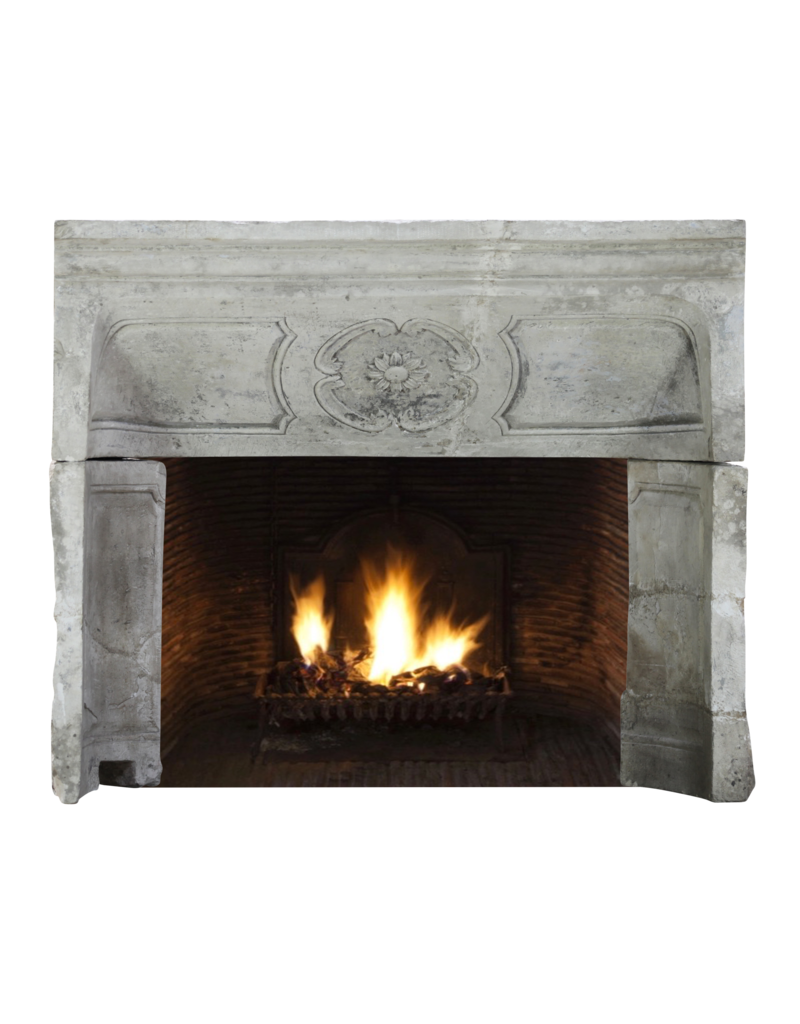 18Th Century Period French Country Limestone Fireplace Interior