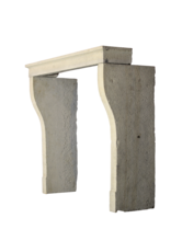 French Honey Color Limestone Rustic Fireplace Mantle