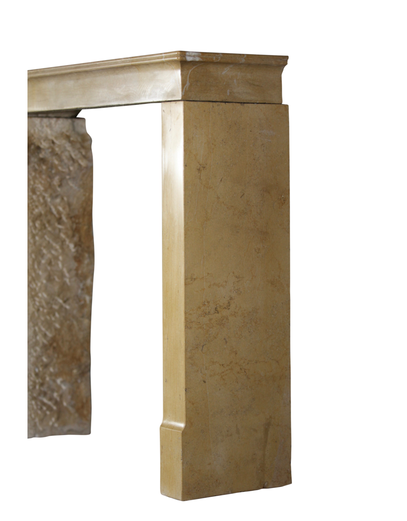 Honey Color French Limestone Antique Fireplace Surround