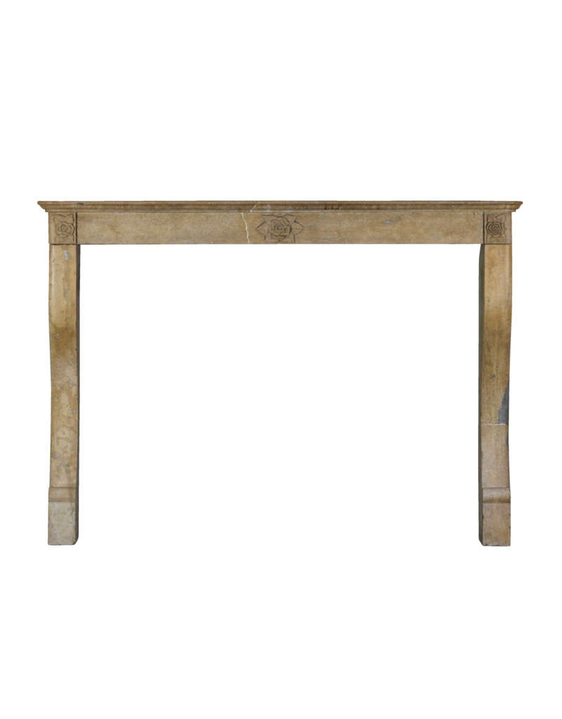 The Antique Fireplace Bank Art Deco Flower Detail French Limestone