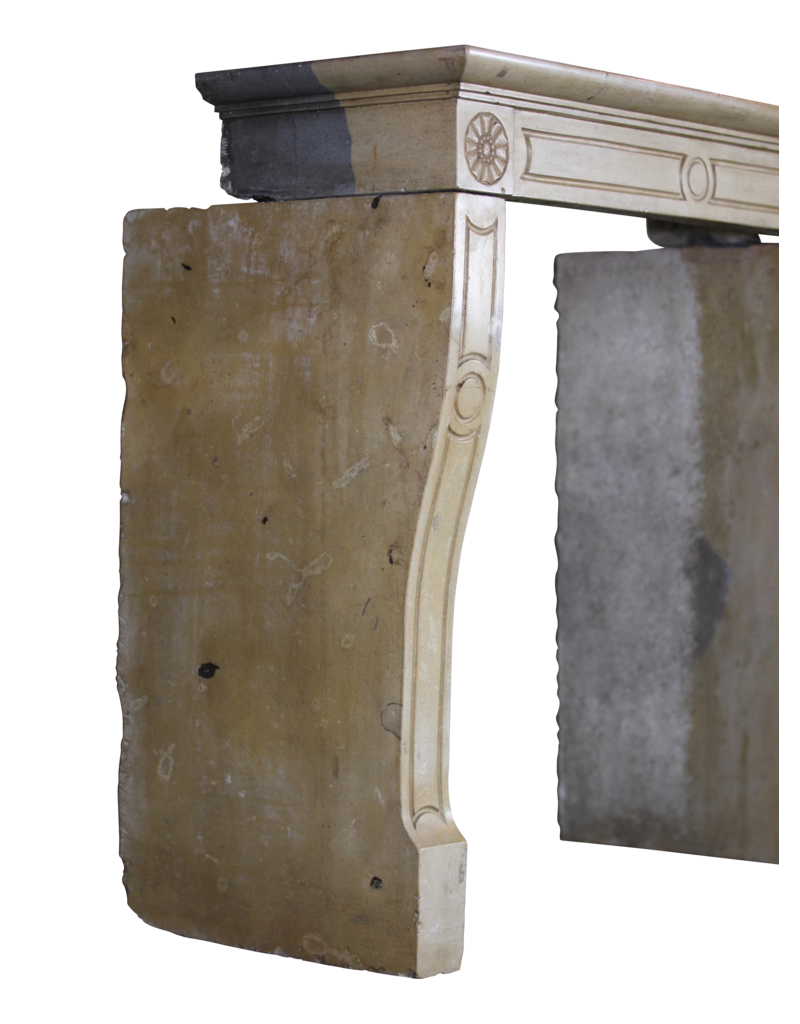Honey Color French Limestone Vintage Fireplace Surround