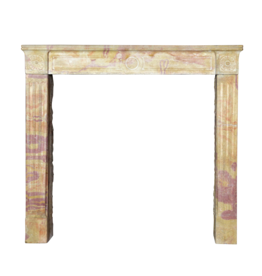 French Original Bicolor Stone Fireplace Mantle