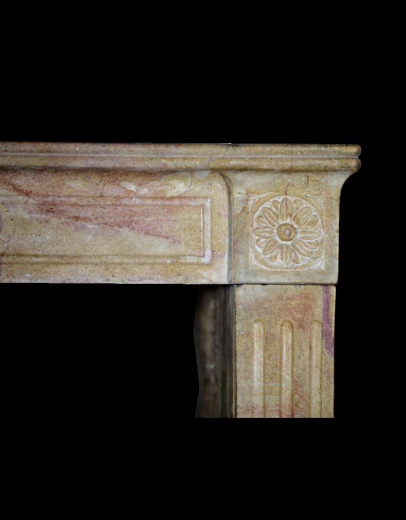 French Original Bicolor Stone Vintage Fireplace Mantle