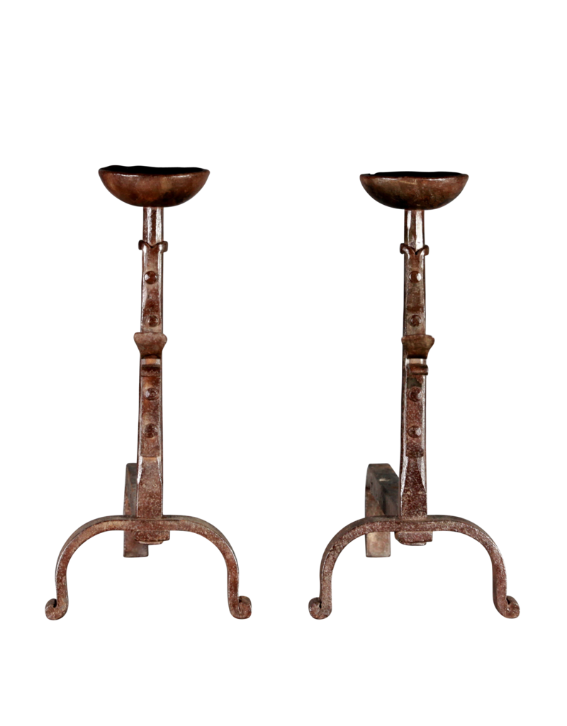 17. Jahrhundert Paar Antik Französisch Feuerböcke