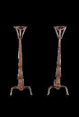 17. Jahrhundert Paar Antique Französisch Feuerböcke