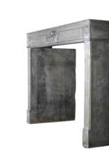 18Th Century French Fireplace In Hard Limestone