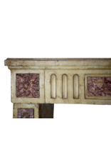 Classic French Bicolor Limestone And Marble Fireplace Surround