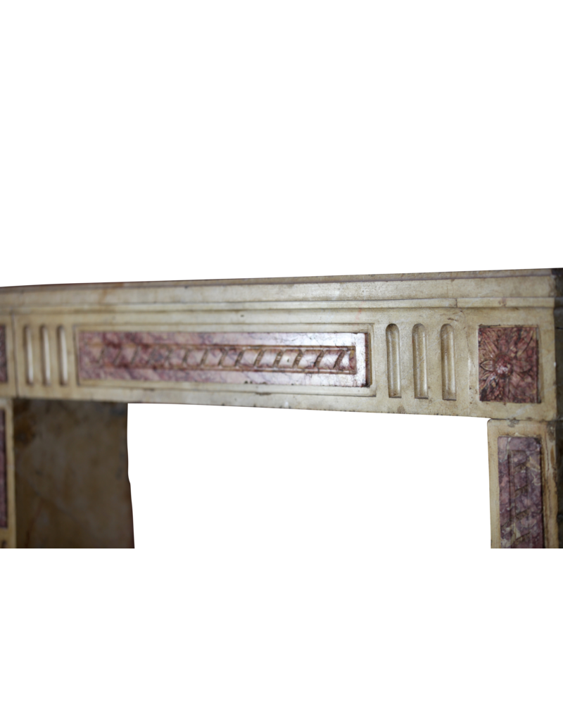 The Antique Fireplace Bank Classic French Bicolor Limestone And Marble Fireplace Surround