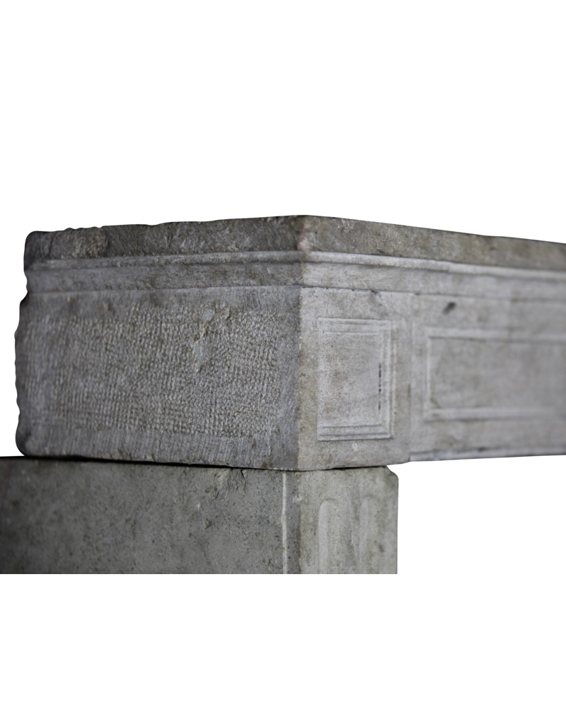 18Th Century Fine French Fireplace In Hard Limestone