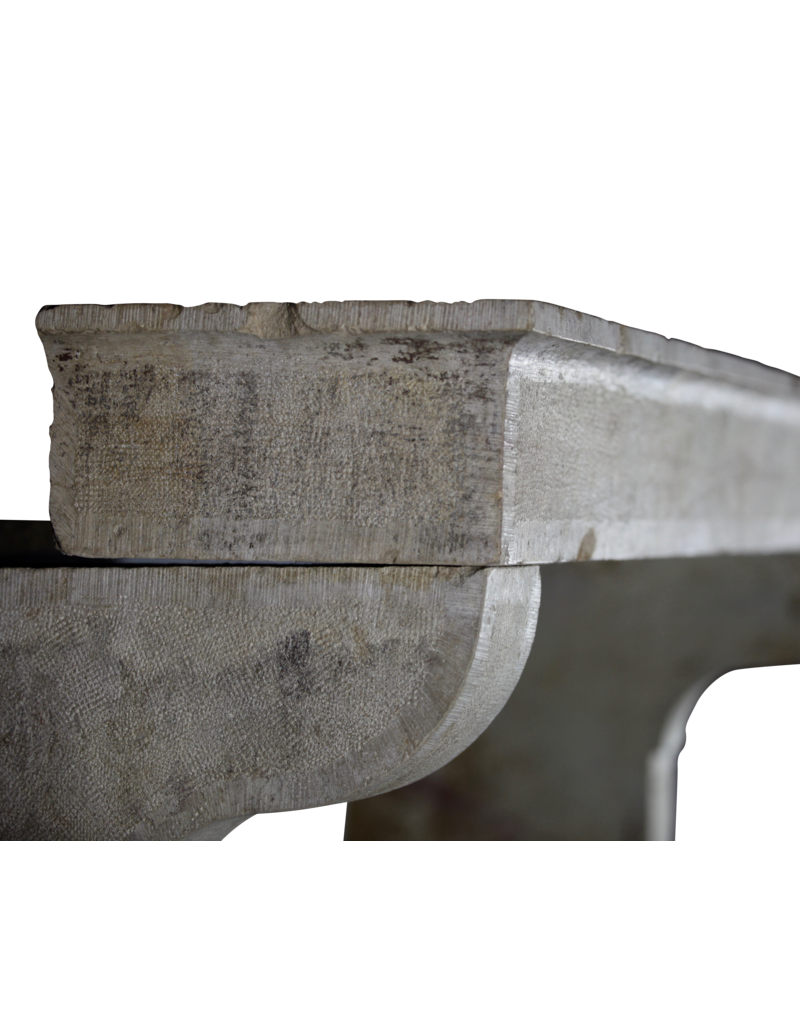 French Rustic Limestone 5 Element Fireplace Mantle