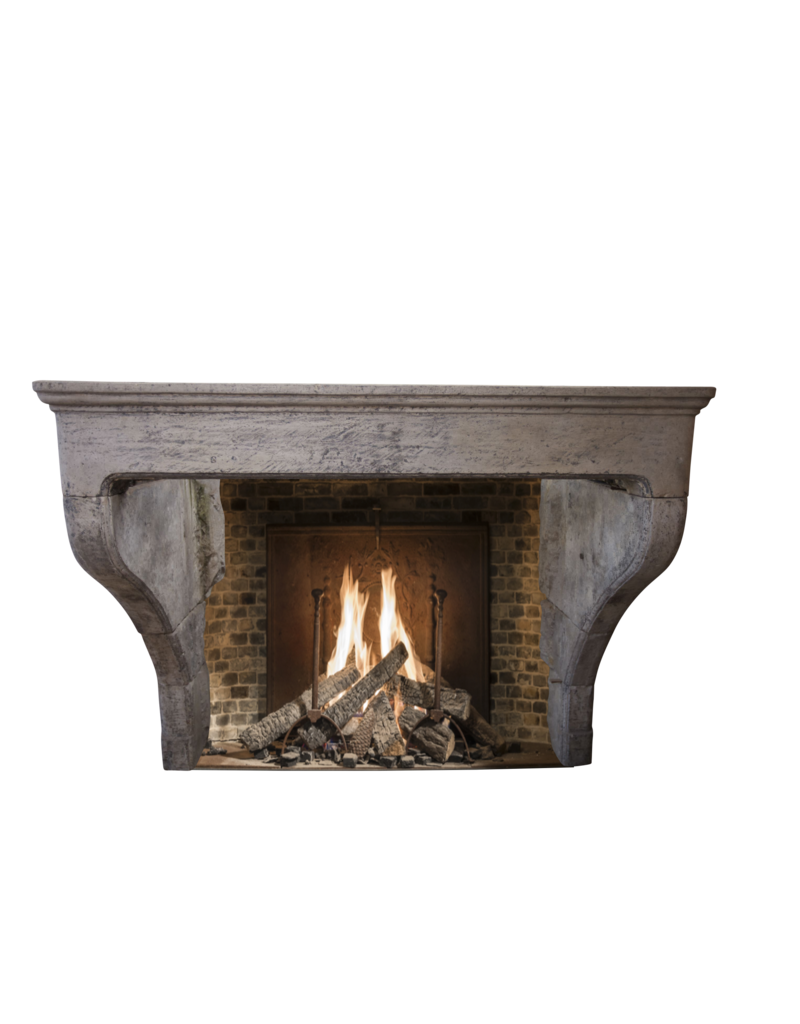 French Country Limestone Antique Fireplace Surround