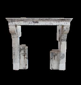 Francés Rústico De Piedra Caliza Chimenea