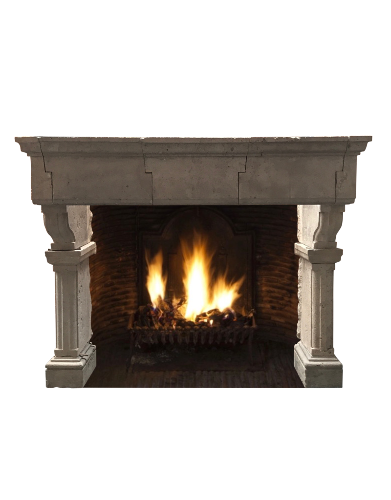 French Grand Country Limestone Fireplace Surround