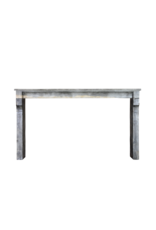 Wide Vintage French Bicolor Stone Fireplace Surround
